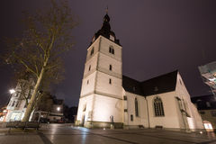 detmold Allemagne d'église d'erloeserkirche le soir Photographie stock libre de droits