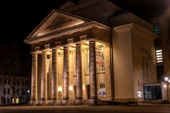 Detmold, Germany - February 6, 2018: The city theater. Night photo. Stock Images