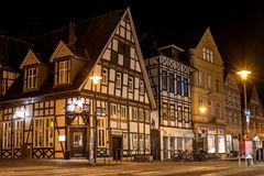 Detmold, Germany - February 6, 2018: Traditional historical houses of the German city. Night photo. Royalty Free Stock Image