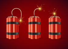 Detonate Dynamite Bomb Set. Vector Stock Photos