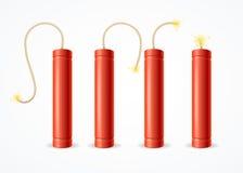 Detonate Dynamite Bomb Set. Vector Royalty Free Stock Photos