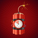 Detonate Dynamite Bomb and Timer Clock. Vector. Detonate Dynamite Bomb and Timer Clock on a Red Background Concept of a Deadline. Vector illustration Royalty Free Stock Photo