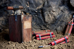 Detonator en dynamiet op mijn Stock Afbeelding