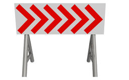 Detour. Circulation sign represented by white board with red arrows Stock Images
