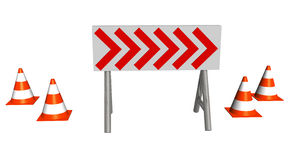 Detour. Circulation sign represented by white board with red arrows Royalty Free Stock Photography