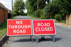 Detour, blocked road Royalty Free Stock Photos