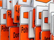 Detour orange and white traffic signs Royalty Free Stock Photos