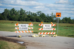 Detour Road Closed Signs Stock Photo