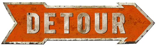 Detour Road Sign Vintage. Detour Road Sign Arrow Vintage Metal Rustic Old Antique highway orange retro stock photo