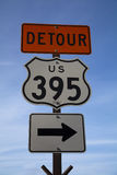 Detour Route 395 Sign Royalty Free Stock Image