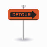 Detour sign. Orange detour sign vith shadow Royalty Free Stock Photo