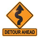 Detour Ahead street Sign with Curved Arrow. Detour Sign Detour Ahead with Curved Arrow Orange Construction Roadwork changes stock images