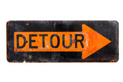 Detour sign - old orange and black  road sign Stock Photos