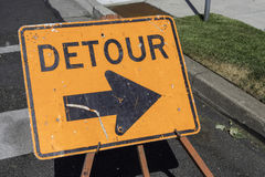 Detour Sign. Pointing to the right side stock photo