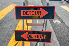 Detour sign on the street Royalty Free Stock Photography