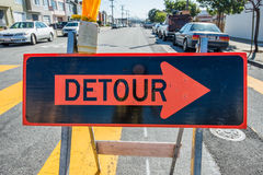 Detour sign on the street Stock Images
