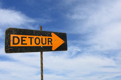 Detour sign with summer sky background Royalty Free Stock Image