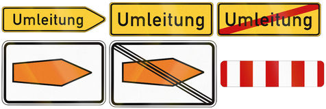 Detour Signs In Germany. German detour road signs used to show recommended routes and mark barriers. Umleitung means detour Royalty Free Stock Images