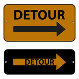 Detour signs. Two rectangular signs, each with an arrow pointing to the right and the word Detour Stock Photography