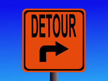 Detour to right sign. Detour sign with arrow pointing to right Stock Photography