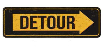 Free Detour Vintage Rusty Metal Sign Royalty Free Stock Photography - 168359217