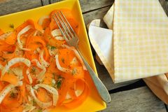 Detox, alkaline food with raw, organic fennel and carrot salad royalty free stock photography