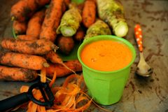 Detox carrot juice for a healthy breakfast in the morning Royalty Free Stock Photography
