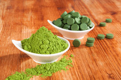 Detox. Chlorella and wheat grass. Stock Image