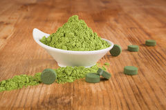 Detox. Chlorella and wheat grass. Stock Photography