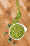 Detox. Chlorella and wheat grass. Royalty Free Stock Image