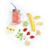Detox cleanse drink, fruits and berries smoothie ingredients. Natural, organic healthy juice for weight loss diet or. Fasting day. Mason jar of dietary drink royalty free stock photos