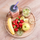 Detox cleanse drink, fruits and berries smoothie ingredients. Natural, organic healthy juice for weight loss diet or. Fasting day. Mason jar of dietary drink royalty free stock image