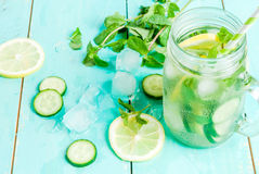 Detox cocktail of mint, cucumber and lemon Royalty Free Stock Image