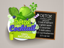 Detox cocktail with recipe. Royalty Free Stock Images