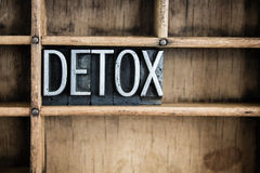 Detox Concept Metal Letterpress Word in Drawer. The word DETOX written in vintage metal letterpress type in a wooden drawer with dividers Stock Photo