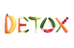 Detox concept. Detox spelt using fruits and vegetables Stock Photography