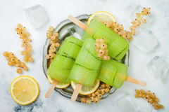 Detox cucumber lemon juice popsicles with white currant. Top view, overhead.  Royalty Free Stock Photo
