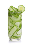 Detox cucumber and mint diet drink on white background. Stock Photos