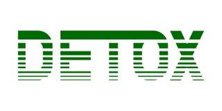 Detox de Digital Dirigez l'illustration verte tirée par la main de lettrage sur le fond blanc D'isolement Pour des affiches, illustration libre de droits