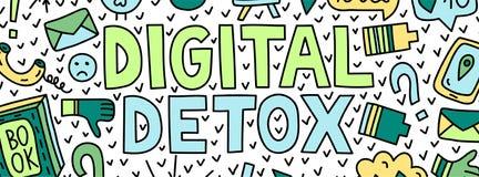 Detox de Digital Illustration de concept avec le lettrage et les griffonnages illustration stock