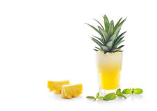 Detox diet, Detox water, pineapple juice and mint with raw pine on white background Stock Image