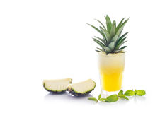 Detox diet, Detox water, pineapple juice and mint with raw pineapple on white background Royalty Free Stock Image