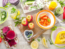 Detox diet.  Different fruits, juice and vegetables. Stock Images