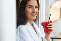 Detox Diet. Healthy Woman Drinking Fresh Juice In Morning Stock Photos