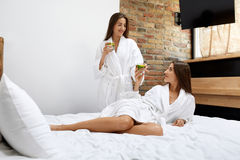 Detox Diet. Healthy Women Drinking Water In Morning. Nutrition Stock Photography