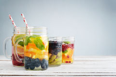 Detox drinks with fresh fruits Royalty Free Stock Images