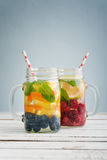 Detox drinks with fresh fruits Royalty Free Stock Photography