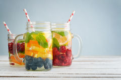 Detox drinks with fresh fruits Stock Images