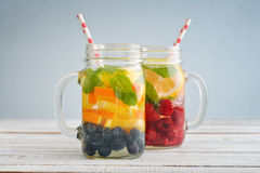 Detox drinks with fresh fruits Stock Photo