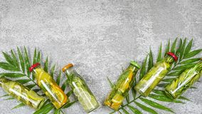 Detox drinks, palm leaves, Mojito, rosemary, summer, healthy royalty free stock images